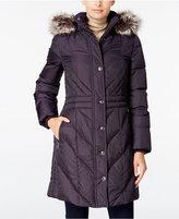 London Fog Faux-Fur-Trim Hooded Puffer Coat