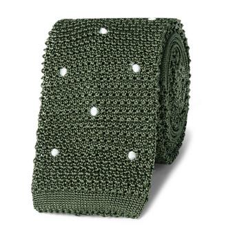 Canali 6cm Polka-Dot Knitted Silk Tie