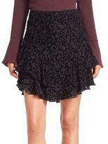 Yigal Azrouel Velvet Burnout Ruffle Skirt