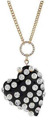Betsey Johnson Black Heart Bow Pendant Necklace (Black) Necklace