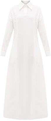 story. White Masquerade Cotton-poplin Maxi Shirt Dress - Womens - White