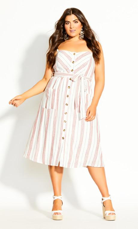 City Chic Lover Stripe Dress - natural