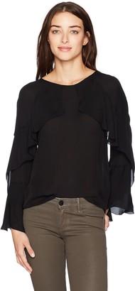 Nicole Miller Women's Lera Long Sleeve Ruffle Silk Top