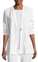 Misook Textured Stripe-Knit Long Jacket, Petite