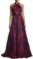 Carmen Marc Valvo Sleeveless Floral Silk Organza Gown, Magenta