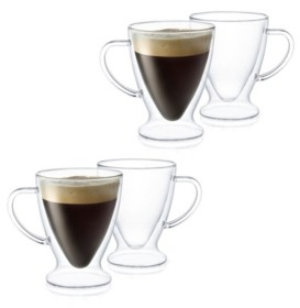 JoyJolt Declan Irish Coffee Double Wall Insulated Mugs, Set of 4