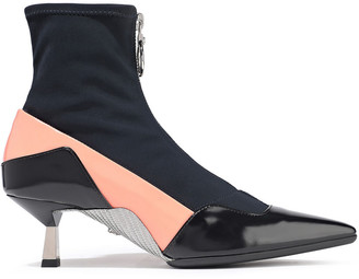Versace Color-block Leather And Stretch-knit Ankle Boots