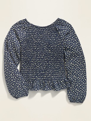 Old Navy Long-Sleeve Smocked Jersey Top for Girls
