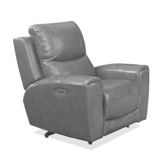 Red Barrel Studio Palmateer Leather Power Recliner Upholstery Color: Gray