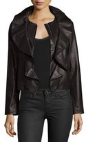Milly Lightweight Ruffle-Collar Leather Jacket, Black