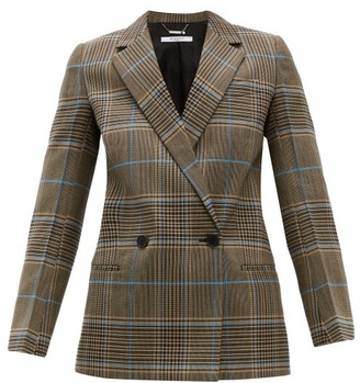 Givenchy Checked Double-breasted Wool-blend Blazer - Grey Multi