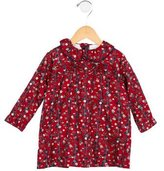 Oscar de la Renta Girls' Floral Print Long Sleeve Dress