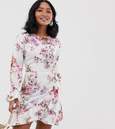 Parisian Petite floral mini dress with fluted sleeve detail