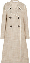 See by Chloe Double-breasted Faux Leather-trimmed Tweed Coat - Beige