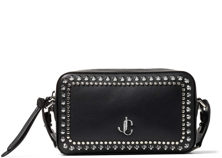 Jimmy Choo VARENNE CAMERA Black Calf Leather Camera Bag with Gold JC Logo and Studs