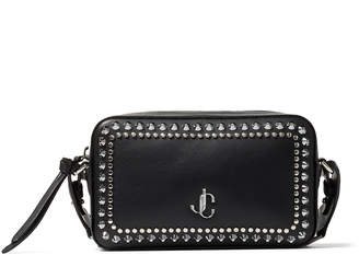Jimmy Choo VARENNE CAMERA Black Calf Leather Camera Bag with Gold JC Logo and Studs