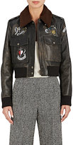 Valentino Women's Shearling-Trimmed Painted Leather Bomber Jacket