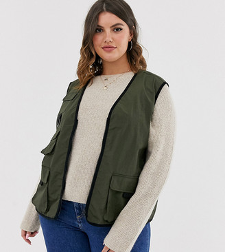 ASOS DESIGN Curve utility vest in khaki