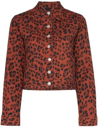 Miaou Lex leopard print denim jacket