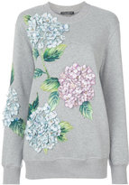 Dolce & Gabbana hydrangea appliqué sweatshirt - women - Cotton/Calf Leather/Polyester - 38