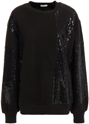 Clu Sequined Mesh-paneled French Cotton-terry Sweatshirt