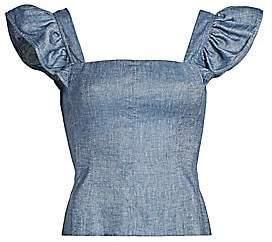 AMUR Women's Dede Flutter-Sleeve Chambray Peplum Tank Top