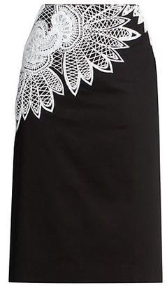 Dries Van Noten Lace Applique Pencil Skirt