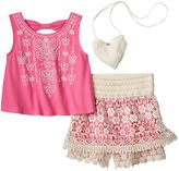 Knitworks Girls 4-6x Embroidered Tank Top & Crochet Skort Set