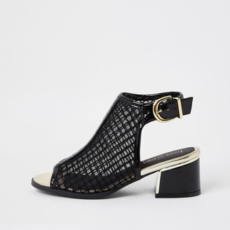 River Island Girls Black patent mesh shoeboots