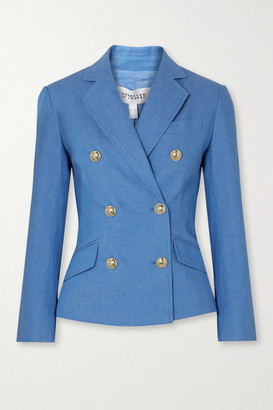 Derek Lam 10 Crosby Myla Double-breasted Cotton-blend Chambray Blazer - Blue