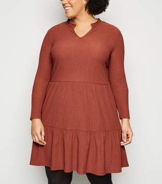 New Look Curves Crinkle Tiered Mini Smock Dress
