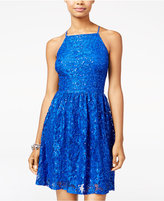 Speechless Juniors' Embellished Lace & Sequin Fit & Flare Dress, A Macy's Exclusive