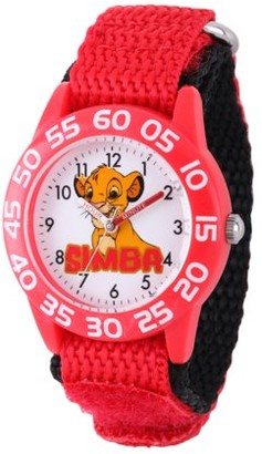 Disney Lion King Boys' Red Plastic Time Teacher Watch Red Nylon Strap
