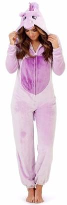 Style It Up Womens/Ladies Unicorn Animal Novelty Onezie Soft Fleece Loungewear Pyjama Purple/Lilac Unicorn Onesie