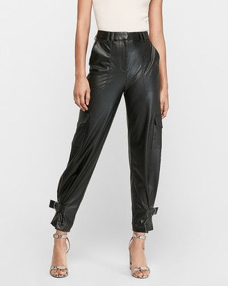 Express High Waisted Vegan Leather Cinched Hem Jogger Pant