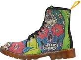 Secretly Famous Ink Martin Sugar Skull Combat Boots for Women - (7.5)