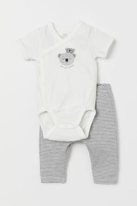 H&M Wrapover Bodysuit and Leggings - Gray