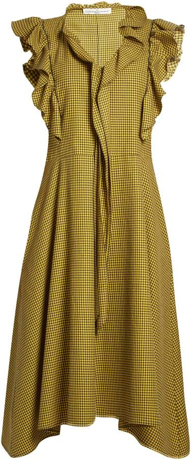 Golden Goose Gina ruffle-trimmed gingham midi dress