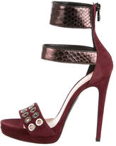 Barbara Bui Snakeskin-Trimmed Sandals w/ Tags