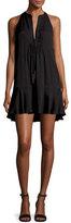 A.L.C. Hadley Sleeveless Silk Crepe de Chine Mini Dress, Black