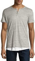 Majestic Double-Layer Short-Sleeve Henley T-Shirt, Gray