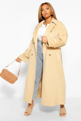 boohoo Plus Wool Look Double Breasted Trench Coat
