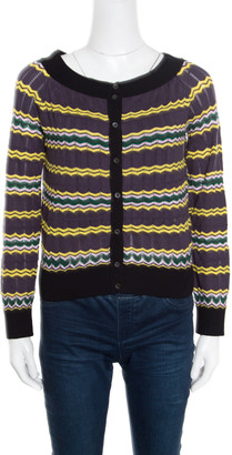 M Missoni Multicolor Perforated Knit Contrast Trim Detail Boat Neck Cropped Cardigan M