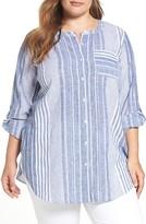 Vince Camuto Plus Size Women's Variegated Stripe Linen Blend Tunic