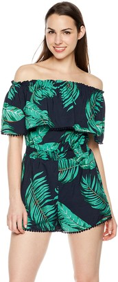Plumberry Off-Shoulder Loose Waisted Printed Sexy Rompers for Women Wine Red