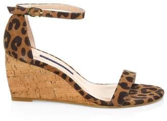 Stuart Weitzman Nearlynude Leopard-Print Leather & Cork Wedges