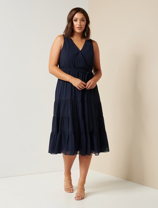 Forever New Angelica Curve Tiered Midi Dress - Navy - 16