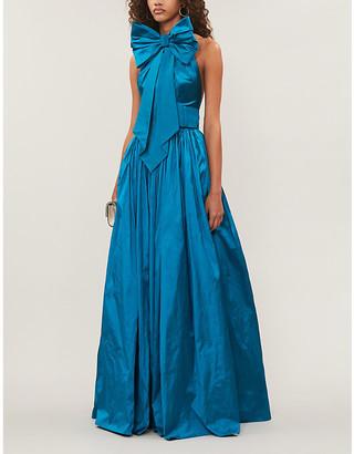 Rasario Bow-embellished silk-dupioni gown