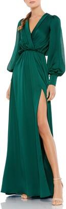 Mac Duggal Long Sleeve Faux Wrap Satin Gown