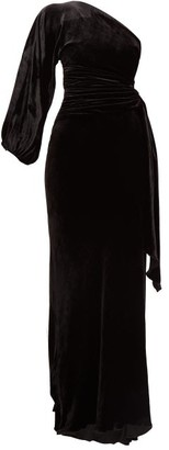 Maria Lucia Hohan Amaris One-shoulder Velvet Dress - Black